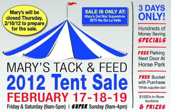 Mary's Tack and Feed Tent Sale 2012