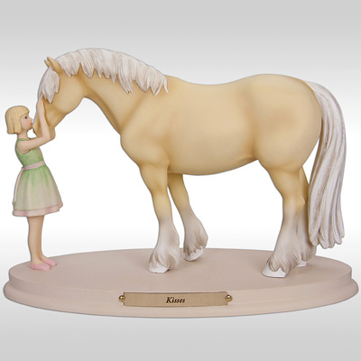 horse kisses figurine