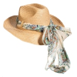 Cowgirl Style Straw Hat with Accent Scarf